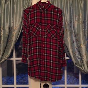Plaid long sleeve shirt dress
